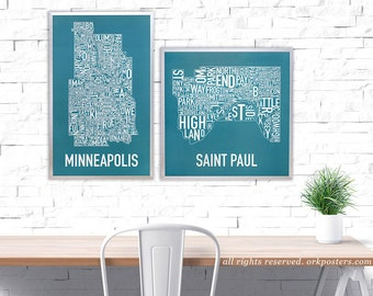 St. Paul Neighborhood Map Poster or Print, Original Artist of Type City Neighborhood Map Designs, Typography Map Posters and Prints
