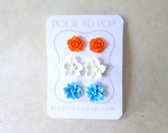 Flower Stud Earrings, Post Earring Set, Orange White and Sky Blue, Colorful Summer Jewelry, Hypoallergenic, Lotus, Lily and Rose Earrings