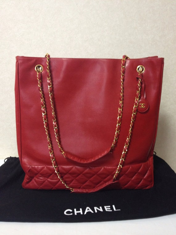 Vintage CHANEL lipstick red calf leather tote