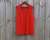 M L Medium Large Vintage Red Handmade Sleeveless Crochet Hippie Boho Summer Indie Festival Hipster Grunge Revival