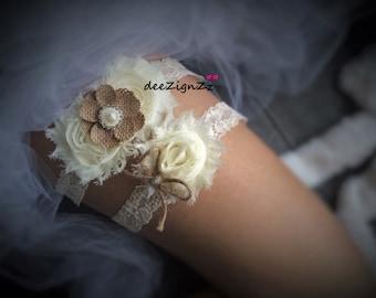 Burlap Wedding Garter, Garter Set, Wedding Garder, Burlap Bow Garter,Burlap Flower Garter, Toss Garter, Burlap, Rustic Garter, Ivory, Pearls