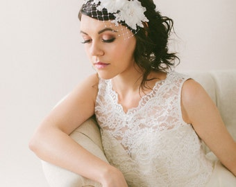Silk Flower Lace Headband Veil, Wide Net Veil with Handmade Silk Organza Flowers and Crystals #701V