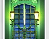 The Guardian of the night - Paris illustration Montmartre Art illustration Giclee art print Poster Paris windows Home decor Wall decor Green