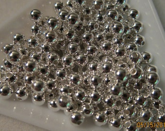 4mm, Silver Plated, Round Brass Beads - Available in 100 & 200 Bead Pkgs and in Larger Pkgs