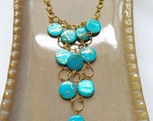 Sea Green and Gold Beachy Cascade Necklace - Shell Waterfall Necklace - CLEARANCE