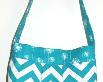 Aqua Teal Chevron and Dandelion  Medium Bag -The Parker