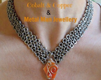 Hex Nut Choker with Wire-Wrapped Glass Pendants