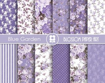 Violet Blue Digital Paper, Rose Digital Paper Pack, Purple Floral Scrapbooking, Floral Digital Paper, Violet Roses - 1928