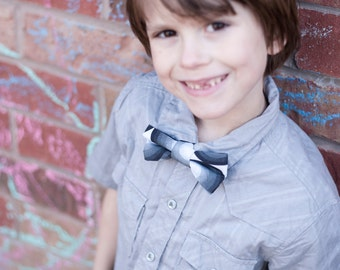 Black, Grey and White Bow Tie for Boys - Mod Design, Geometric, Modern Pattern - Contemporary Design - Sale - 60s
