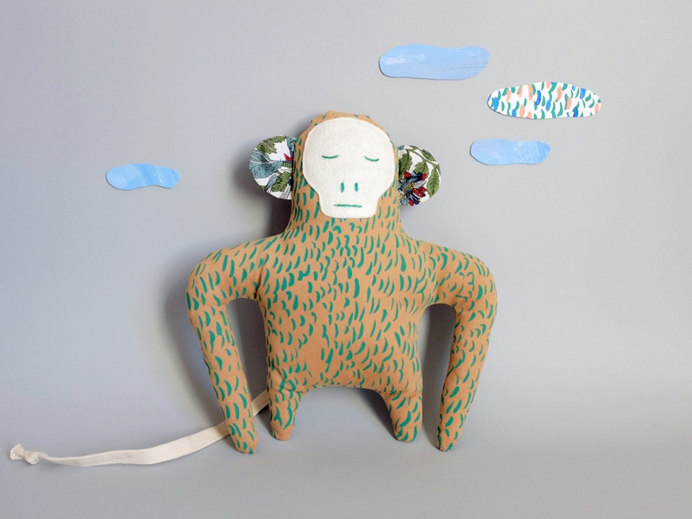 Doll Bruno The Monkey Green Pelage Silkscreen