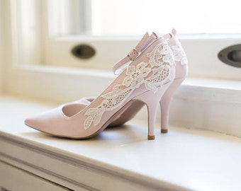 Wedding Shoes - Blush Heels, Blush Bridal Shoes, Wedding Heels, Pink Heels, Blush Pumps with Ivory Lace. US Size 7.5