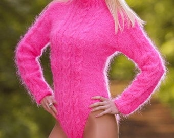 Made to order neon pink hand Knitted Mohair Bodysuit Soft Cable Knit Sweater by SUPERTANYA - size S and M