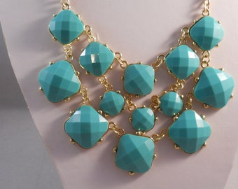 3 Row Bib Necklace with Turquoise Beads on Gold Tone Chains