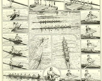 Rowing poster 1936 Vintage Rowing print Rowing art Vintage rowing gift for rowers Rowing decor Boating art Boating wall art Boating gift