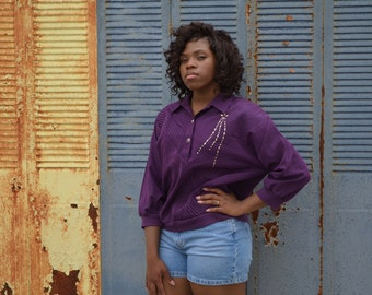 Women's Purple Blouse, Vintage G.W. 80's Shirt, Purple Ladies' Shirt, Size Medium, Size Large, Three Quarter Sleeve Shirt