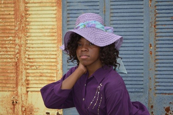 Purple Hat, Purple Floppy Vintage Hat, Women's Hat, Ladies' Wide Brimmed Hat