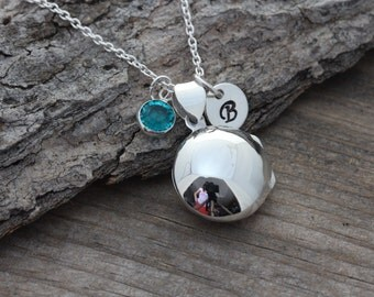 Lockets, Sterling Silver Locket Necklace, Personalized Round Locket with initial & Birthstone, Confirmation, Choose Italian chain. R-2 md