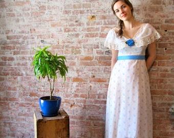 70s Floral Dress - Prom Dress - Prairie - Lace - Shawl Collar - Grosgrain Ribbon - Blue & White Floral Print