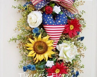 4th of July Americana Swag (Nice wreath alternative) for Summer, Patriotic