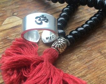 Meditate ring OM Hand stamped outside  3/8 inch cuff yogi  ring