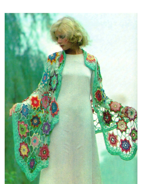 Crochet Patterns For Shawls Vintage : Crochet Shawl Pattern Vintage 70s Shawl PDF PATTERN