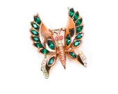 Corocraft Butterfly Brooch Rose Gold Vermeil Emerald Green Rhinestone Sterling