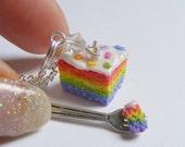 Food Jewelry Rainbow Cake Necklace, Cake Pendant, Polymer Clay Food, Miniature Food, Mini Food Jewellery, Gay Pride Jewelry, Kawaii Necklace