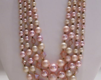 Four Strand Pink Pearl and Faceted Iridescent Plastic Bead Necklace Made in Japan
