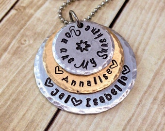 You Are My Sunshine Necklace - Mom Christmas Gift - Personalized Necklace - Mommy Necklace - Mixed Metals - Hand Stamped Stacked Necklace
