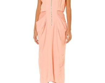 1980s Vintage Sweet Pale Pink Cotton Cut-out Dress  Size: XS/S
