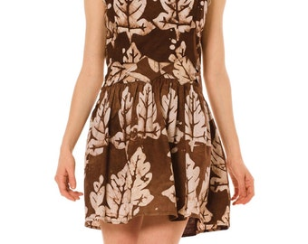 1960s Vintage Cotton Dress With Leaf Print  Size: S/M