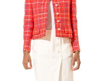 1960s Vintage Bright Orange Plaid Jacket  Size: S/M
