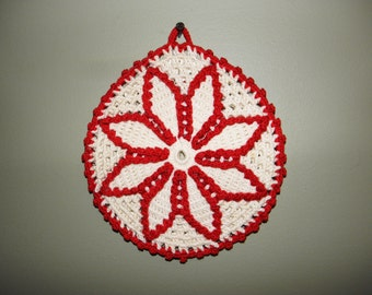 Vintage Red & White Crocheted Flower Hot Pad / Pot Holder - 1950's - from DustyMillerAntiques