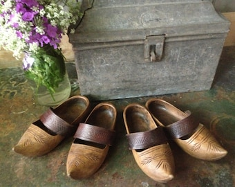 French Folk Art Clogs Artisan Wood Leather Childrens Clogs Matching Set of 2