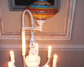 Nursery room chandelier floor lamp, nursery lamp, vintage spin top light, kids light.  nursery rhyme light