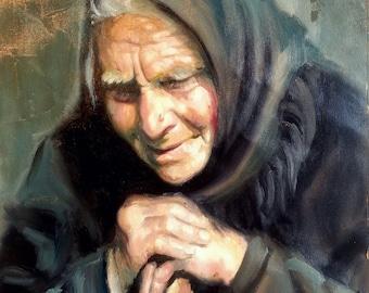 CUSTOM PORTRAIT - Grandma or Grandpa - Oil Painting - Gift for Grandma Custom Portrait Painting Oil Painting Custom Portrait From Photo