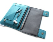iPad Pro Organiser, iPad Pro Organizer, iPad Pro 9.7 Case, iPad Pro 12.9 Case, iPad Mini, iPad Air, Sleek Case- Teal Blue & Charcoal Grey