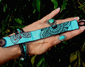 FINAL SALE Turquoise Black Cloth Textile Henna Tattoo Mehndi Embroidered Bracelet Wood Suede ॐ