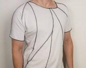 Futuristic punk geometric white top with black stitching