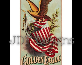 Instant Digital Download, Vintage Graphic, Golden Eagle Label, Printable Image, Scrapbook, Americana Typography, American Flag, July Fourth