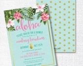 GOLD PINEAPPLE ALOHA tropical flower bridal shower invitation luau Hawaiian baby shower birthday honeymoon destination wedding