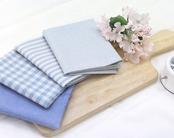 Blue Cotton Fabric - Plaid, Solid, Small Stripes or Big Stripes - By the Yard 75448