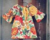 Girls Dress, Fall Floral three quarter length long sleeve peasant dress, Thanksgiving, coming home outfit, toddler, sizes Newborn to 11/12