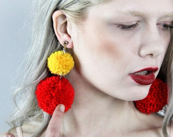 Handmade Two-Tone Double Pom Earrings - Choose Your Color(s) - Lightweight