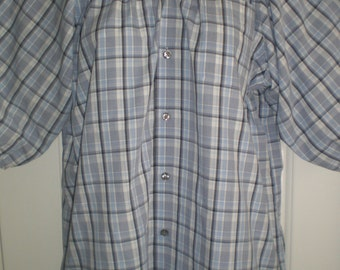 Peasant Blouse with 3/4 sleeves, elastic neck,  upcycled from a men's shirt 50 inch XL, blue plaid