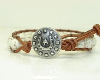White Magnesite Beaded Leather Wrap Bracelet, Western, Men's Single Wrap