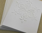 SALE Fancy snowflake card set, eight embossed cards in white, gift idea, christmas card set, holiday card set, winter thank you birthday