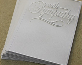 SALE With sympathy card set, set of eight embossed sympathy cards in white, gift idea, sympathy card, memorial card set, loss card set