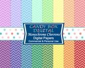 Chevron Paper, Rainbow Paper, Chevron Digital Paper, Rainbow Digital, Zigzag Paper, Zig Zag Paper, Chevron Scrapbook - Commercial Use OK
