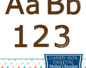 Melted Chocolate Alphabet, Chocolate Font, Brown Alphabet, Brown Font - Commercial Use OK